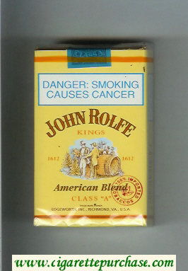 John Rolfe Kings American Blend cigarettes soft box