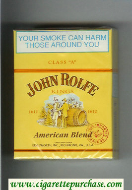 John Rolfe Kings American Blend 30s cigarettes hard box