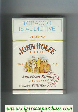 John Rolfe Lights American Blend cigarettes hard box