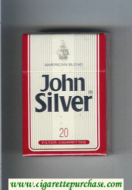 John Silver American Blend white and red cigarettes hard box