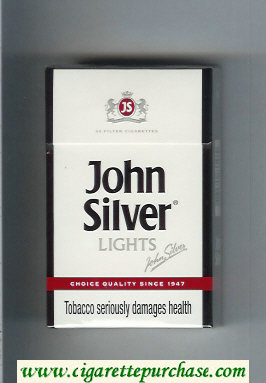 John Silver Lights white cigarettes hard box