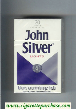 Discount John Silver Lights white and blue and grey cigarettes hard box