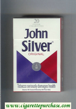 Discount John Silver Original white and blue and red cigarettes hard box