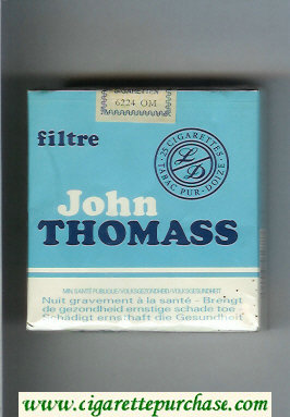 John Thomass Filtre blue and white 25s cigarettes soft box