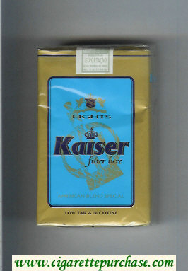 Kaiser Lights Filter Luxe American Blend Special blue and gold cigarettes soft box