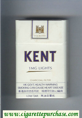 Discount Kent USA Blend 1 mg Lights Charcoal Filter cigarettes hard box