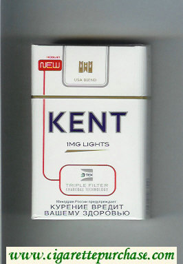 Kent USA Blend 1 mg Lights Triple Filter cigarettes hard box