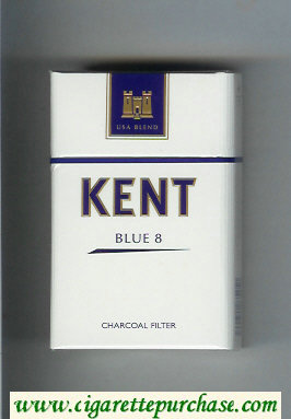 Discount Kent USA Blend Blue 8 Charcoal Filter cigarettes hard box