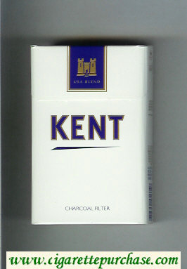 Discount Kent USA Blend Charcoal Filter white and blue cigarettes hard box