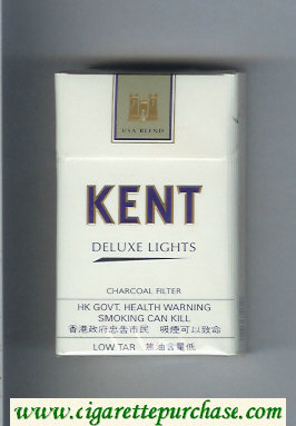 Kent USA Blend Deluxe Lights Charcoal Filter cigarettes hard box