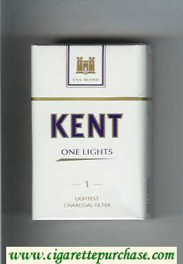 Discount Kent USA Blend One Lights 1 Lightest Charcoal Filter cigarettes hard box