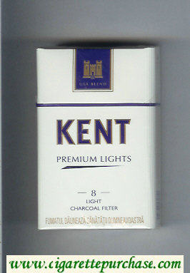 Discount Kent USA Blend Premium Lights 8 Light Charcoal Filter cigarettes hard box