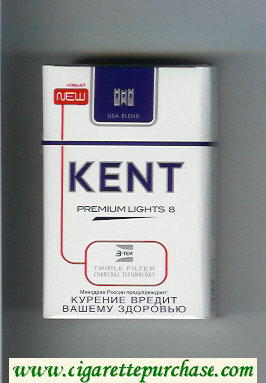 Discount Kent USA Blend Premium Lights 8 Triple Filter cigarettes hard box