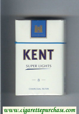 Discount Kent USA Blend Super Lights 8 Charcoal Filter cigarettes hard box