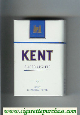 Discount Kent USA Blend Super Lights 8 Light Charcoal Filter cigarettes hard box