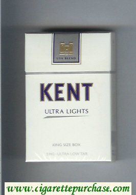 Kent USA Blend Ultra Lights 5 mg Ultra Low Tar cigarettes hard box