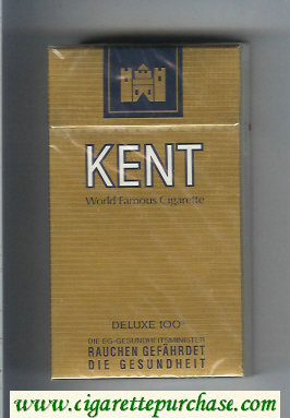 Kent World Famous Cigarette Deluxe 100s gold cigarettes hard box