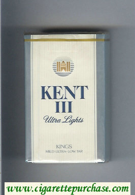 Discount Kent III Ultra Lights Kings Mild Ultra-Low Tar cigarettes soft box