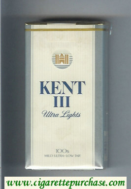 Discount Kent III Ultra Lights 100s Mild Ultra-Low Tar cigarettes soft box
