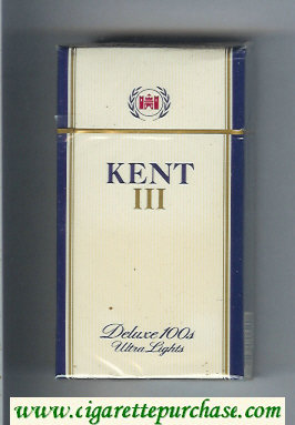 Kent III Deluxe 100s Ultra Lights cigarettes hard box