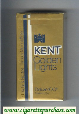 Kent Golden Lights Deluxe 100s Famous Micronite Filter cigarettes soft box