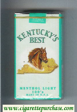 Kentucky's Best Menthol Light 100s cigarettes soft box
