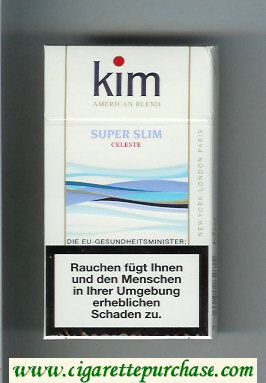 Kim Super Slim Celeste American Blend 100s cigarettes hard box