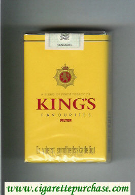 King's Favourites Filter yellow cigarettes soft box