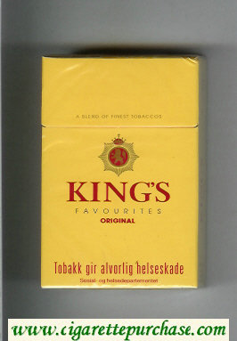 Discount King's Favourites Original yellow cigarettes hard box