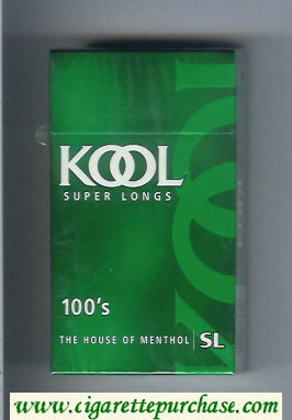 Discount Kool Super Longs 100s The House of Menthol cigarettes hard box