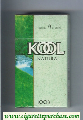 Kool Natural Menthol 100s cigarettes hard box