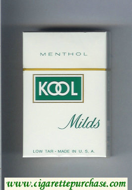 Kool Milds Menthol white and green cigarettes hard box