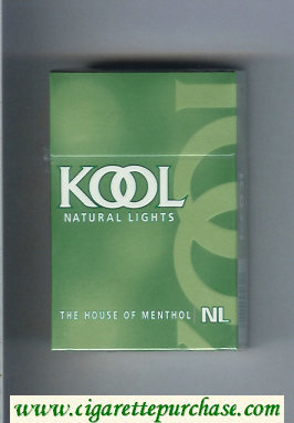 Kool Natural Lights The House of Menthol cigarettes hard box