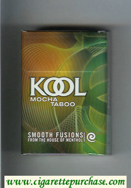 Kool Mocha Taboo Smooth Fusion From The House of Menthol cigarettes hard box