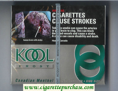 Discount Kool Frost Canadian Menthol 25s cigarettes wide flat hard box