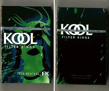 Kool Filter Kings True Menthol cigarettes hard box
