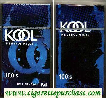 Discount Kool Menthol Milds 100s True Menthol hard box cigarettes