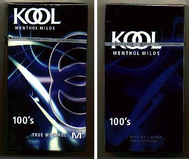 Discount Kool Menthol Milds 100s True Menthol M cigarettes hard box
