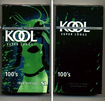 Discount Kool Super Longs 100s True Menthol cigarettes hard box