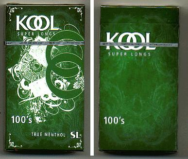 Discount Kool cigarettes Super Longs 100s True Menthol SL hard box