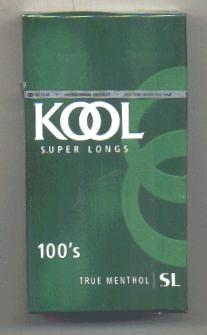 Kool Super Longs 100s True Menthol cigarettes hard box