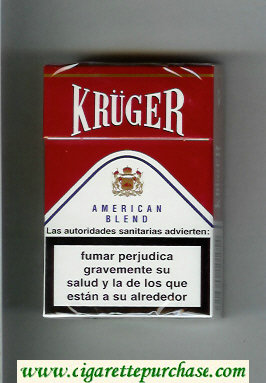 Kruger American Blend white and red cigarettes hard box