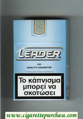 Discount Leader light and blue Cigarettes hard box