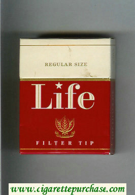 Life Filter Tip red and white cigarettes hard box