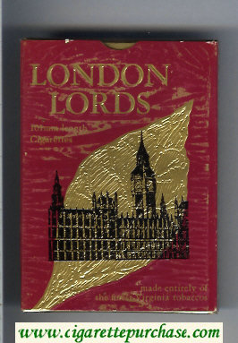 London Lords 100s cigarettes wide flat hard box