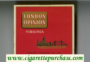 London Opinion Virginia cigarettes wide flat hard box
