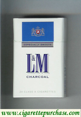 Discount L&M Charcoal Especially Smooth white and blue cigarettes hard box