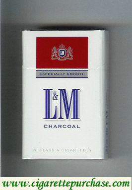 L&M Charcoal Especially Smooth white and red cigarettes hard box