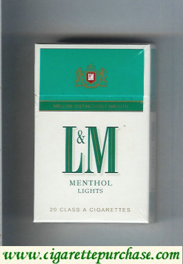 L&M Mellow Distinctively Smooth Menthol Lights cigarettes hard box
