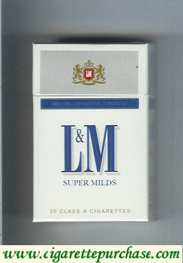 L&M Mellow Distinctively Smooth Super Milds cigarettes hard box